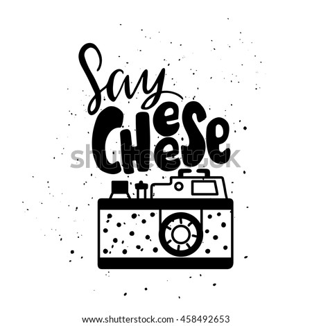Vector illustration with photo camera logo. Lettering. Say Cheese ストックフォト ©