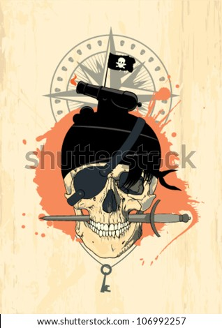 Vector illustration with pirate skull