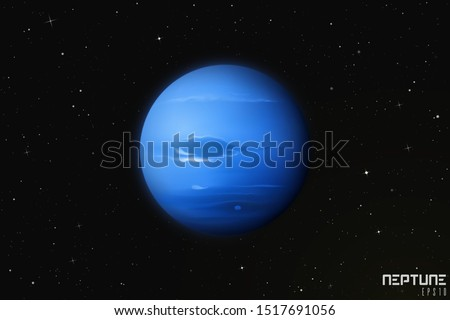 Vector illustration with planet Neptune in outer space. Space background with eighth planet of solar system. Realistic blue sphere in galaxy. Celestial object for planetarium or astronomy calendar