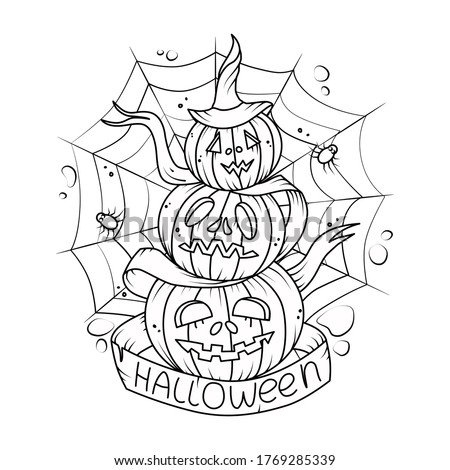 Vector illustration with pumpkins . For Halloween decorations. Coloring book.
