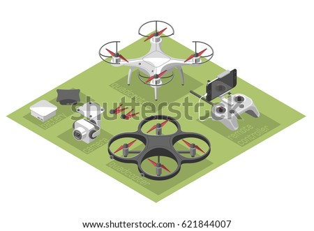 Shutterstock Vector Illustration with quad copter and remote control on color background. Drone with a video camera, controller has a holder for mobile phone. Isometric style.
