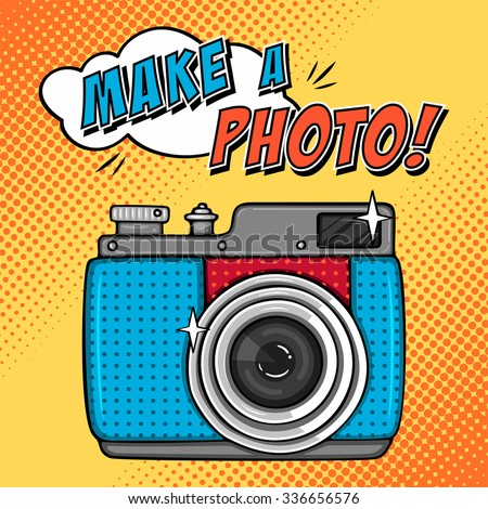 Vector illustration with retro photo camera. Comic background in pop art style