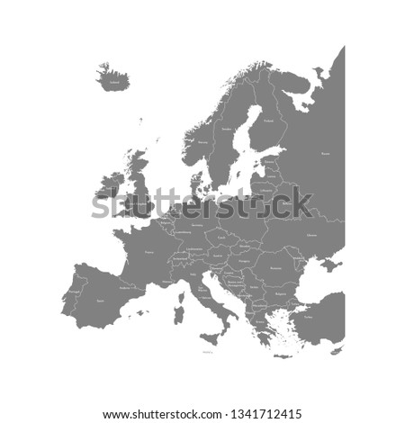 Vector illustration with simplified map of all European states (countries). Grey silhouettes, white outline and background. Text with country names