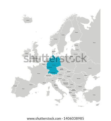 Vector illustration with simplified map of Europe with blue contour of Germany. Grey silhouettes, white outline of states' border