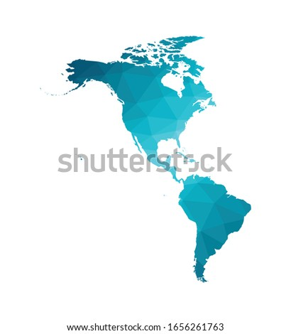 Vector illustration with simplified map of North and South America continent. Blue low poly triangular silhouettes, white background. Foto stock ©