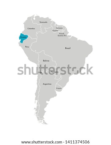 Vector illustration with simplified map of South America continent with blue contour of Ecuador. Grey silhouettes, white outline of states' border. Foto stock ©