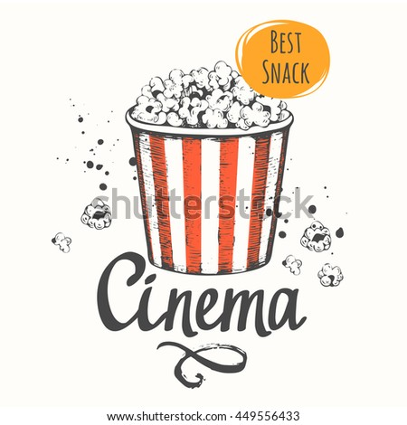 Vector illustration with sketch popcorn bucket. Cinema snack. Hand drawn fast food. Movie time.