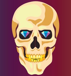 Vector illustration with skull and golden teeth and dimonds on the gradient background