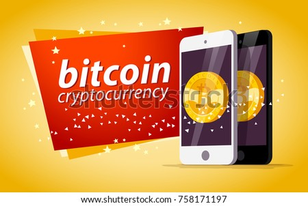 Vector illustration with smartphone having golden coin with bitcoin emblem on its screen isolated on yellow background. Mobile device and cryptocurrency symbol. Digital money and gadget pic.