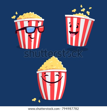 Vector illustration with smiley cartoon popcorn. Cartoon popcorn striped bucket with 3D eyewear. Vector cinema time background. Isolated movie snack objects. Cinema drink and food