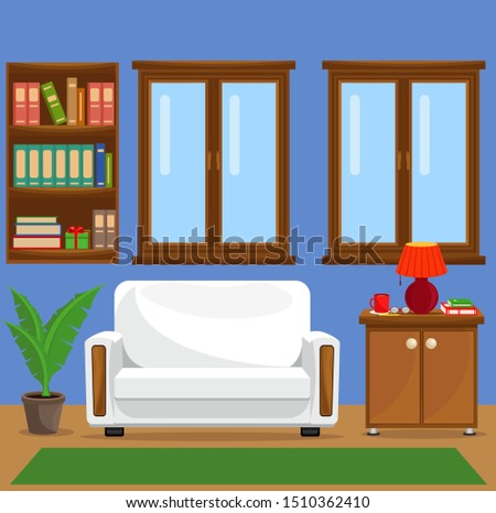 Vector illustration with sofa, bookcase, window and lamp. The interior of the living room.