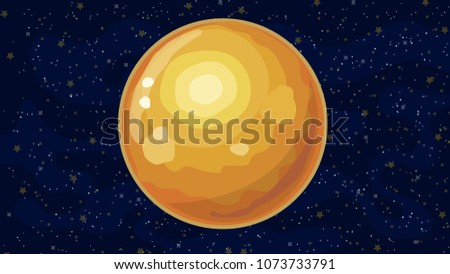Stock Photo Vector illustration with space, stars, fogs and Sun planet.