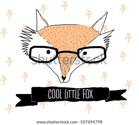 Vector illustration with stylish fox in sunglasses showing a peace sign. Be cool - lettering quote. Inspiration typography poster, greeting card design, hand drawn style t-shirt print