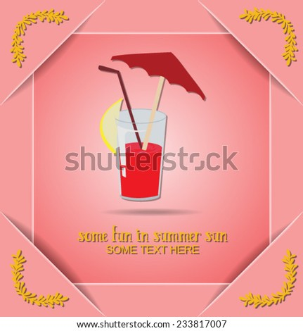 Vector illustration with summer and summer drink