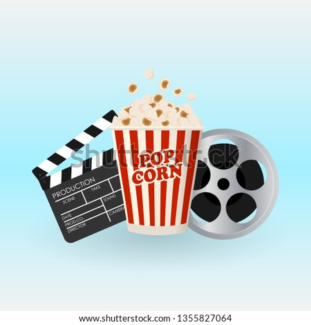 Vector illustration with the image of a popcorn, filmstrip and clapperboard. Cinema poster concept