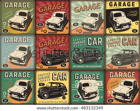 Vector Illustration With The Image Of An Old Classic Car Design Logos Posters