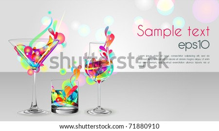 Vector illustration with three multicolor glass with liquid
