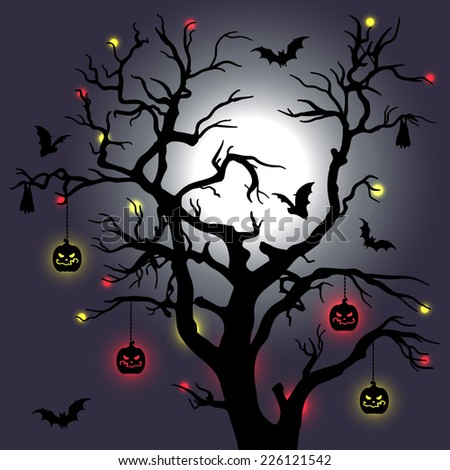 Vector illustration with tree, moon and bats