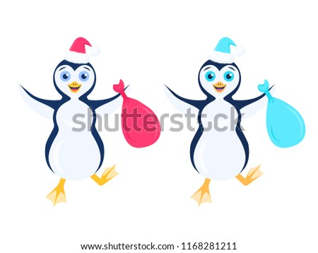 Vector illustration with two happy stomping penguins in santa red and blue hat with bag in outstretched arms isolated on the white background.