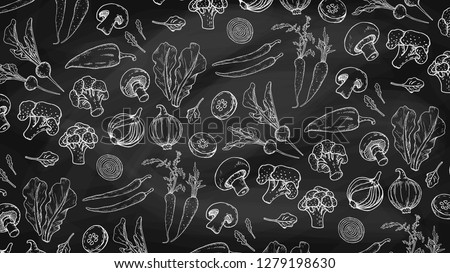 Vector Illustration with Vegetables Chalkboard Pattern: Salad, Carrot, Radish, Broccoli, Tomatoes, Cucumber, Pepper, Onion, Mushrooms