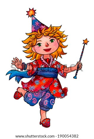 Vector illustration with watercolor effect  - fairy girl with magic wand, robe, cap and sash #190054382