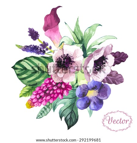 Vector illustration with watercolor flowers. Beautiful bouquet tropical flowers and plants on white background. with calla lily, anenone and leaves.