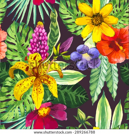 Vector illustration with watercolor flowers. Beautiful seamless background with tropical flowers and plants on black. Composition yellow lily, chinese hibiscus and monstera leaves.