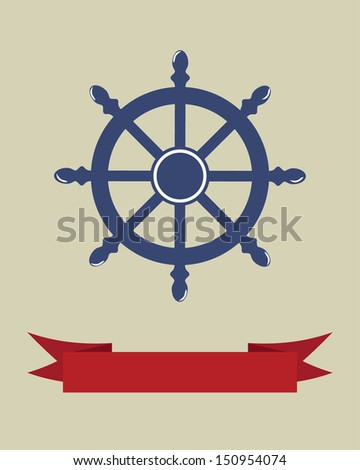 Vector illustration with wheel and banner for text. Vintage style.