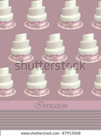 vector illustration with  white cake