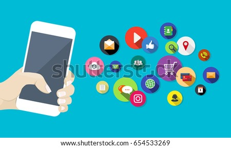 Vector illustration with white hand holding mobile phone and communication, social and entertainment apps icons on blue background