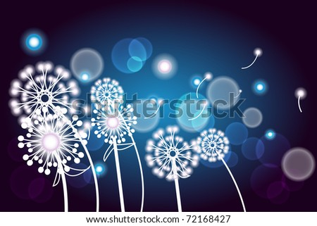 Vector illustration with white twig with flowers on a dark blue background