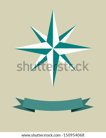 Vector illustration with wind rose and banner for text. Vintage style.