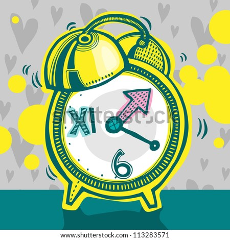 Vector illustration with yellow alarm clock
