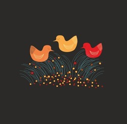 Vector illustration with yellow, orange and red birds on the night field