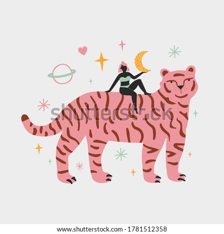 Vector illustration with young pink hair woman and funny striped tiger. Stars, moon, saturn planet and heart. Trendy female print design with wild animal, home decoration poster, collage minimal art