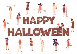 Vector illustration with young women in witch costumes and hand drawn lettering Happy Halloween isolated on white background. Design for print, card, invitation, decor