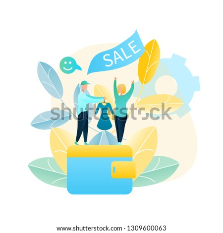 Vector Illustration Woman Buys New Dress Online. Image Man Courier Delivered Girl Purchased Goods Online Store. Payment in Cash. Girl Happy Shopping. Online Sale Clothes. Standing on Big Wallet