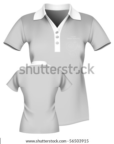 shirt outline front and back. Women#39;s polo shirt template.