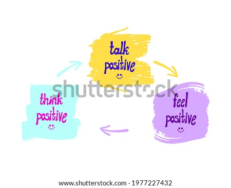 Vector illustration, Words: Think, Talk and Feel Positive, Optimistic Lifestyle Concept, Hand Drawn Arrows, Leader Scheme. Photo stock ©