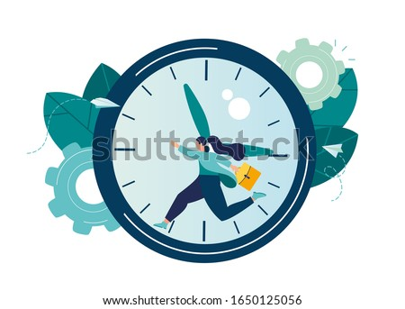 Vector illustration, work time management concept, quick response, people rush to do everything at work, time is running out, rewind time