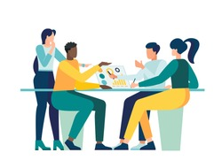 Vector illustration, workers are sitting at the negotiating table, collective thinking and brainstorming,  vector, company information analytics