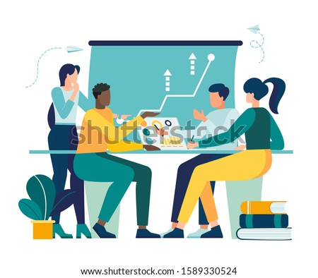 Vector illustration, workers are sitting at the negotiating table, collective thinking and brainstorming,  vector,company information analytics