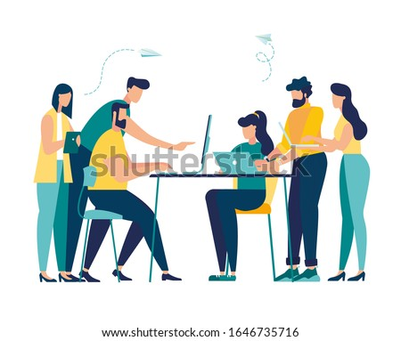 Vector illustration, workers are sitting at the negotiating table, collective thinking and brainstorming, company information analytics vector