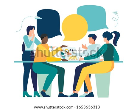 Vector illustration, workers are sitting at the negotiating table, collective thinking and brainstorming, company information analytics - vector