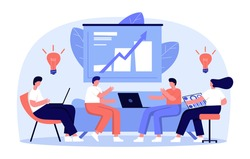 Vector illustration, workers are sitting on the couch, vector collective thinking and brainstorming. Work from home, dropshipping shop, ecommerce. Online store analytics