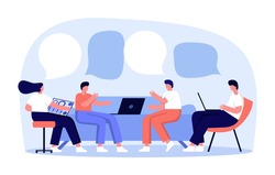 Vector illustration, workers are sitting on the couch, vector collective thinking and brainstorming. Work from home, dropshipping shop, ecommerce