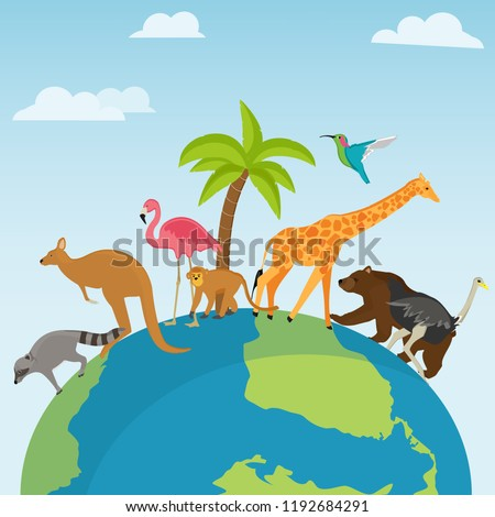 Vector illustration World Animal day banner. World Wildlife Day with the animals. Animals on the planet, animal shelter, wildlife sanctuary. World Environment Day.