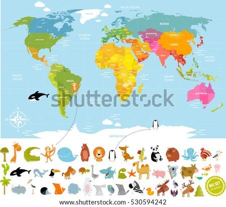 Vector de mapa de amrica del sur descargue grficos y vectores gratis vector illustration world map for children with lots of animals bear cow elephant gumiabroncs Image collections