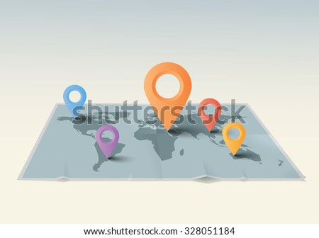 Vector illustration world map with pointers. #328051184