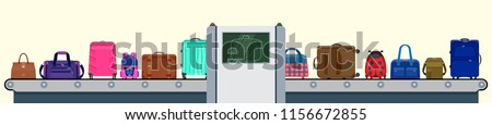 Vector illustration: x-ray scanner in airport terminal. Set of suitcases. Luggage checking with police illustration. Baggage conveyor  with different bags. Conveyor line with passenger baggage.